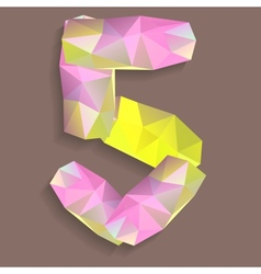 Geometric crystal digit 5 vector