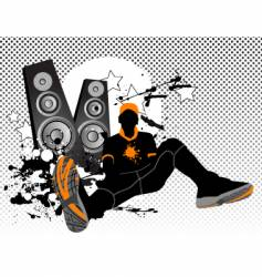 listening music vector image