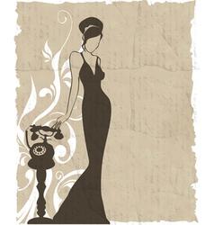 vintage retro woman silhouette background vector image