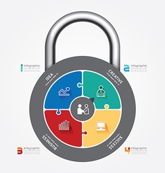 Infographic template with lock jigsaw vector