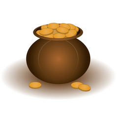 Clay pot with gold vector
