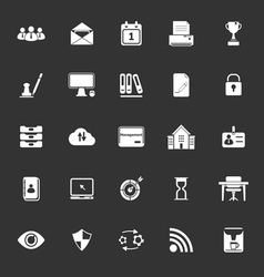 Business management icons on gray background vector