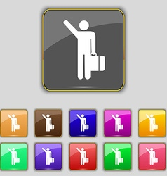 Tourist icon sign set with eleven colored buttons vector