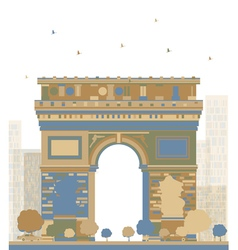 Color arch of triumph paris vector