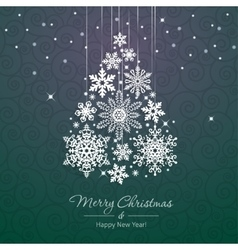 White snowflake christmas tree on green background vector