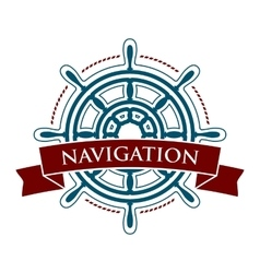 Ship steering wheel logo vector
