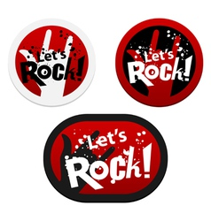 Stickers with lets rock vector