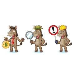 Brown donkey mascot with sign vector