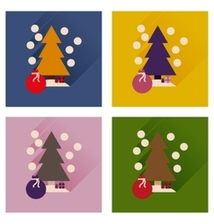 Concept of flat icons with long shadow Tree bag vector image