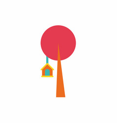 Bird house on tree vector