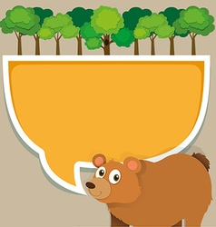 Border design with bear and tree vector