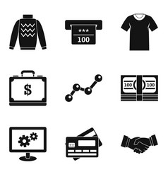 Cash donation icons set simple style vector