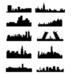 City silhouette set vector image