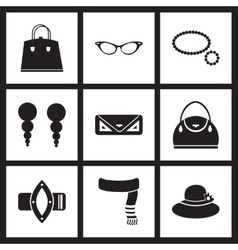 Concept flat icons in black and white women vector
