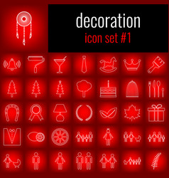 Decoration icon set 1 white line icon on red vector