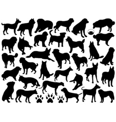Dogs silhouette collage vector