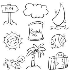 Doodle summer element hand draw vector
