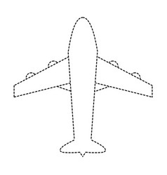 dotted shape airplane travel transport in the sky vector image