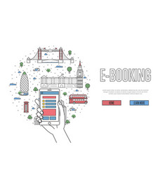 E-booking poster in linear style vector