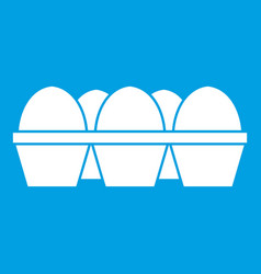 Eggs in carton package icon white vector