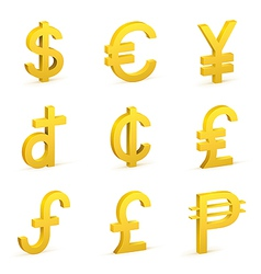 Finance icon currency gold button set vector image
