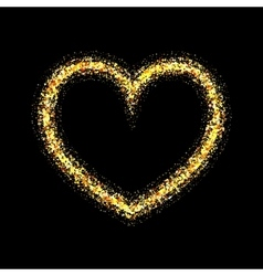 Gold shiny heart vector
