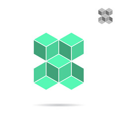 green isometric cubes forme vector image vector image