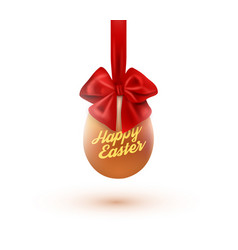 happy easter card with eggs and bow vector image