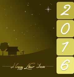 happy new year 2016 with rural night landscape vector image