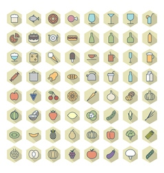 icons line hexagonal food drinks thin vector image vector image