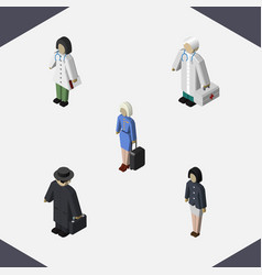Isometric human set of doctor detective hostess vector