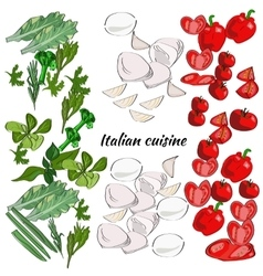 Italian basic ingredients drawn menu frame vector