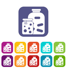 Jars with pickled vegetables and jam icons set vector