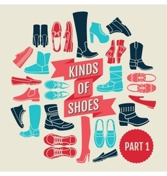 Kinds of shoes part 2 set of flat icons vector