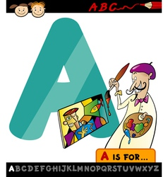 letter a with artist cartoon vector image vector image