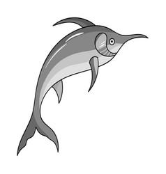 Marlin fish icon in monochrome style isolated on vector