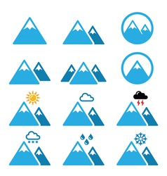 Mountain winter icons set vector image