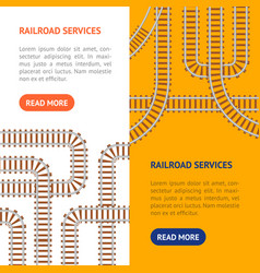 Railroad banner vecrtical set vector