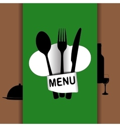 restaurant menu with chef hat chef green vector image vector image