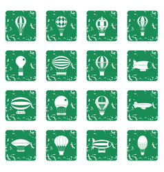 Retro balloons aircraft icons set grunge vector