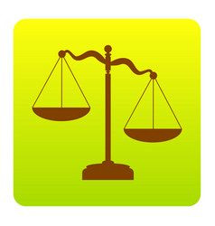 scales of justice sign brown icon at vector image vector image