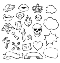 Set of retro tattoo symbols cartoon old school vector