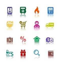 Set shopping colour icons vector image vector image