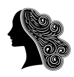 Silhouette of woman with ornamental hair vector