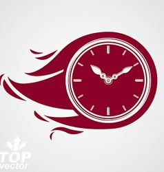 Time runs fast concept clock with burning flame vector