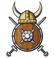 viking helmet shield and crossed swords vector image vector image