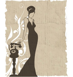 Vintage retro woman silhouette background vector
