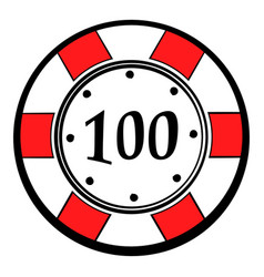 100 dollars casino chip icon icon cartoon vector image vector image