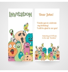 Invitation with abstract monsters pattern vector