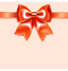 Red bow of silk ribbon isolated on pink background vector